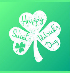 happy saint patricks day text in shamrock vector image
