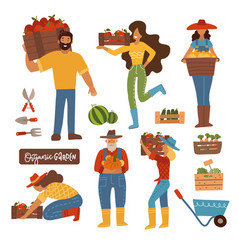 Harvesting farming people set men and women vector