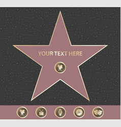 Hollywood walk fame star vector