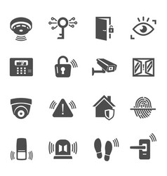 home security house protection glyph icons set vector image
