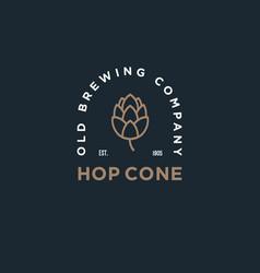 hop cone beer pub logo brewing company emblem vector image
