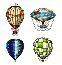 hot air balloons retro flying airships vector image