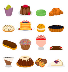 Icon logo for big set sweet desserts vector