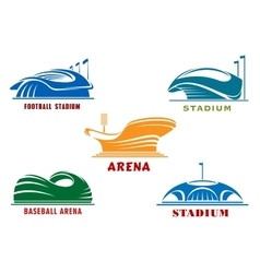 Icons of modern sport stadiums and arenas vector image