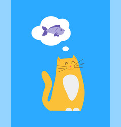 kitty thinking of food fish vector image