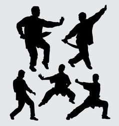 Kungfu silhouette martial art action vector