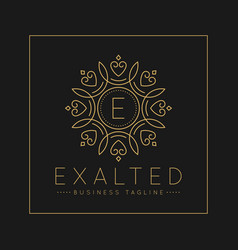 letter e logo with classic and luxurious line art vector image