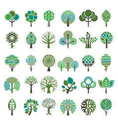 logo tree eco nature wood trees stylized emblems vector image