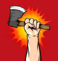 male hand holding axe in the air vector image