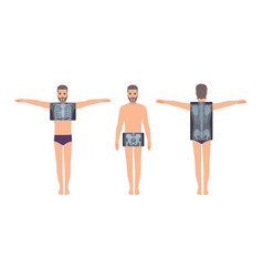 male patient and his chest pelvis and back vector image