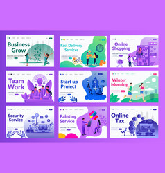 marketing landing page set with different color vector image