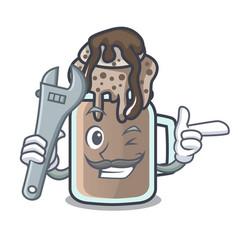 Mechanic milkshake mascot cartoon style vector