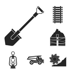 Mining industry black icons in set collection vector