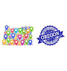 Mosaic map of oregon state with map pointers and vector
