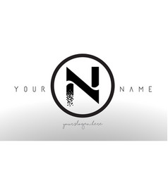 N logo letter with digital pixel tech design vector