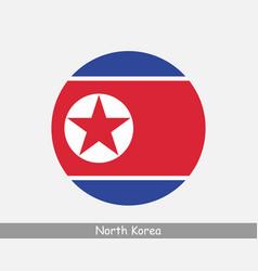 North korea round circle flag vector