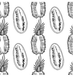 pineapple and melon slices seamless pattern vector image