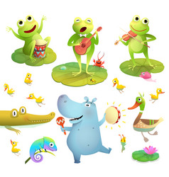 Pond or swamp animals playing music clipart set vector
