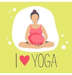 Pregnant woman doing YogaBatterfly or lotus Pose vector