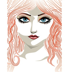 Red haired girl with blue eyes vector image