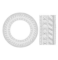 round pattern and brushes for coloring book vector image