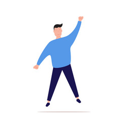 satisfied young man with raised hand celebrating vector image