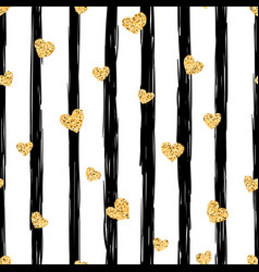 seamless gold heart pattern love vector image