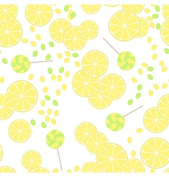 Seamless pattern of yellow lemon slices and candy vector image