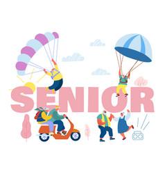 seniors sparetime concept elderly people active vector image