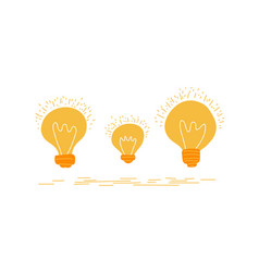 set hand drawn light glowing bulbs isolated vector image