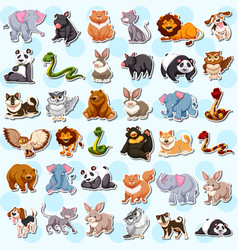 set of cute animal sticker vector image