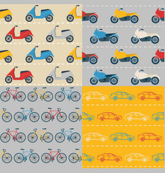 set of seamless patterns with colorful transport vector image