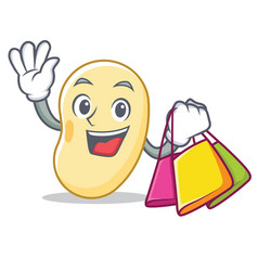 Shopping soy bean character cartoon vector