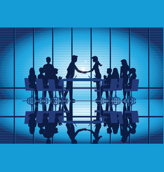 silhouettes of business partnership handshake vector image