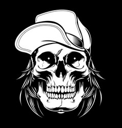 skull wearing cap hand drawingshirt designs vector image