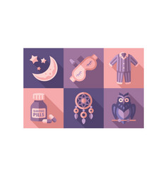 Sleep time icons set sweet dreams elements good vector