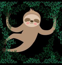 Sloth in jungle scene vector