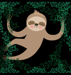 Sloth in the jungle scene vector