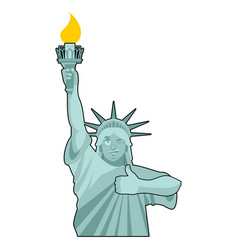 Statue of liberty winks thumbs up landmark vector