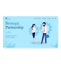 Strategic partnership meeting man and woman vector
