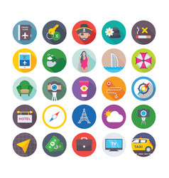 Summer and travel icons 11 vector