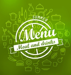 Summer menu label design lineart concept vector