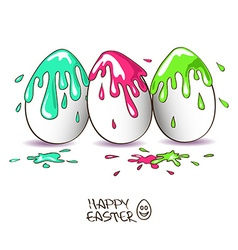 Three funny Easter eggs vector image