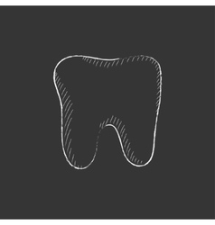 Tooth Drawn in chalk icon vector