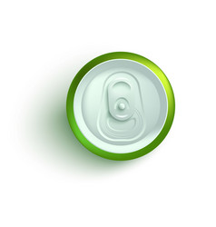Top view of green aluminum soda or beer can mockup vector