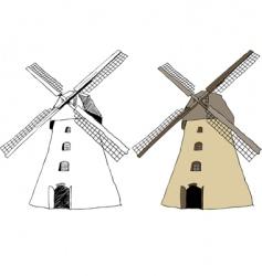 Traditional dutch windmill vector