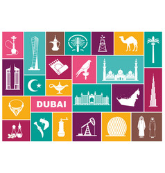 traditional symbols of uae flat icons vector image