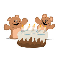 two bears celebrating a birthday party vector image