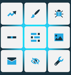 User icons colored set with dashboard repair bug vector