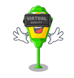 virtual reality street lamp post in shape cartoon vector image